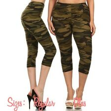 New Army Camouflage Print Capri Leggings Plus & Reg Sizes Soft One Size Stretchy