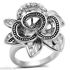 Clear CZ Stones Flower Silver Rhodium EP Ladies Ring