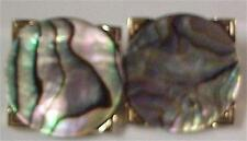 Cuff Links-by Swank Vintage-Abalone Stone-Gold Tone Finish-13164C