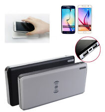 10000mAh Qi Wireless Charging Charger Pad Battery Power Bank 2 in 1 For Phone PC