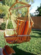 NEW POLYCOTTON PADDED HAMMOCK CHAIR SWING & FOOT REST