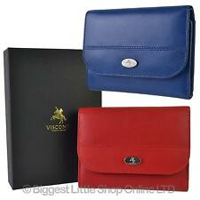 NEW Ladies LEATHER Compact Flap Over PURSE WALLET by Visconti; Enya GIFT BOX