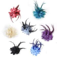 7 Color Feather Flower Hair Tie Clip Corsage Pin Brooch Hair Decor Wrist Band