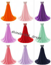 Cheap Long Bridesmaid Dress Chiffon Prom Party Evening Formal Gown UK 4-6-16-18