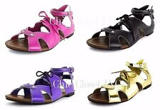 Womens Ankle Strap Low Flat Heels Gladiator Sandals Ribbon Cutout Open Shoes NEW