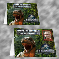 Personalised Jurassic World Photo Birthday Card Nephew Grandson Son Brother