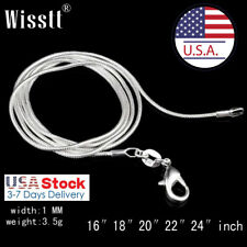 Free shipping wholesale 10PC sterling solid silver 1MM 2MM snake chain necklace