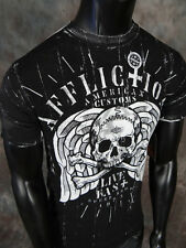 Mens Affliction AMERICAN CUSTOMS T-Shirt BLACK SMOKE Reversible Style #A10268