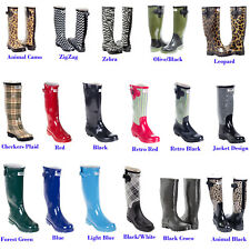 Women Flat Rubber Rain Boots Mid Calf Waterproof Solid & Multi Colors