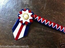 Satin and Velvet Red/White/Blue Show Browband from Browband Heaven.
