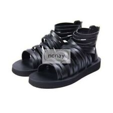 Men's Runway Gladiator Roman Strappy Zipper Hollow PU Leather Ankle Boots Sandal