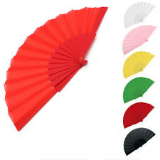 Potable Handheld Fabric Hand Folding Fan Outdoor Dancing Bridals Wedding Party