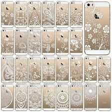 Clear Soft TPU Case Cover For iPhone 5 5s 5c 6 Mandala Floral Sun Paisley Henna