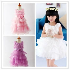 Child Kids Girl Bow Princess Party Evening Wedding Dress Flower Girls Clothes