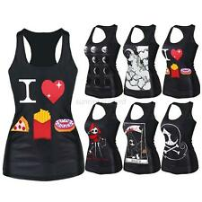 Casual Womens Punk Printed Singlet Gothic Tank Top Vest Blouse Rock Tee Camisole