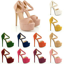 Womens Ladie Girls' Peep Toe Strappy Platfrom Faux Suede HIGH HEELS Sandal Shoes