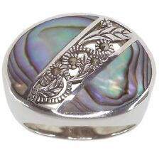 Mother Of Pearl and Marcasite Sterling Silver Ring