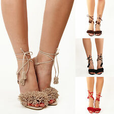 New womens ladies evening party frill tie up ankle high heel sandals shoes size