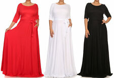 PLUS SIZE SOLID SIDE POCKET FULL SWEEP LONG SKIRT TIE BELT JERSEY MAXI DRESS