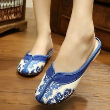 US Size 4-8 New Low Heel Shoes Button Medium Floral Cotton Wedge Walking s967