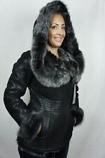 Black 100% Sheepskin Shearling Leather Lambskin Toscana Hood Coat Jacket XS-5XL