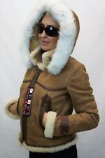 Brown 100% Sheepskin Shearling Leather Lambskin Toscana Hood Coat Jacket XS-5XL