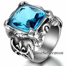 Men Large Stainless Steel Ring CZ Silver Dragon Claw Knight Vintage Gothic Rings