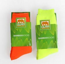 Mens Bamboo Cushion Foot Work Socks Fluro 2 Pack Size 6-11 11-14