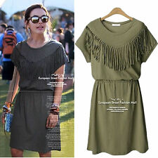 XL-5XL Summer Women Plus Size Round Neck thin fringed Slim dress Sundress