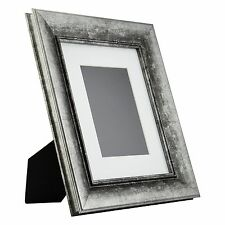 Verandah Table-top 8x10 Vintage Aged Silver Standing Picture Frame, Mat