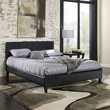 Premier Upholstered Platform Bed frame leather twin full queen heavy duty NEW