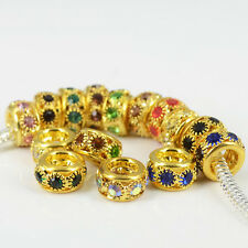 Rhinestone Golden Plated Charms Spacer Beads Fits European Bracelets Necklaces