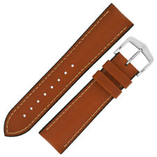 Hirsch JAMES Calf Leather Performance Watch Strap and Buckle in GOLD BROWN