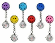 NURSE STAINLESS STEEL SMILE SMILEY FACE QUARTZ FOB POCKET WATCH CLIP ON