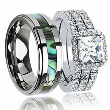 Hers Sterling Silver CZ & His   Tungsten Engagement Wedding Ring Bridal Band Set
