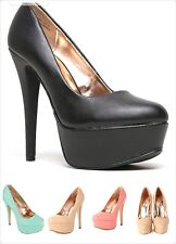 Women's Classic Office Trendy Platform High Heel Pump Shoes NEW