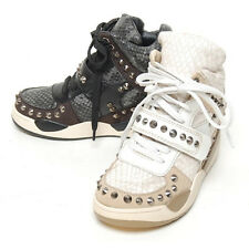 New Womens Shoes High Top Wedge Hidden Heel Unique Stud Velcro Fashion Sneakers