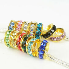 Multicolor Crystal Golden Spacer Loose Charms Beads Jewelry Finding Fit Bracelet