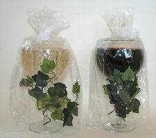 SCENTED WINE GLASS+GRAPE VINE TEA LIGHT CANDLE HOLDERS; WHITE & CABERNET/RED-NEW