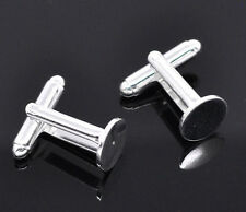 Wholesale DIY Jewelry Pad Cuff Links Silver Plated Flat Round 25x10mm