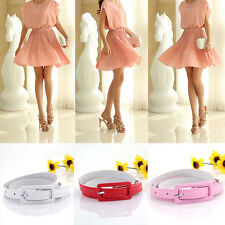 Hot Sexy Ajustable Women's Candy Colors Thin Skinny Waistband Belt PU Leather CN