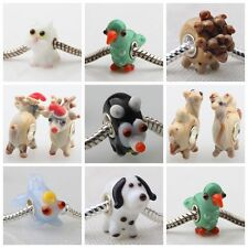2pcs MURANO GLASS BEAD LAMPWORK Animal Fit European Charm Bracelet 23Items  Pick