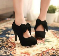 Fashion Retro Womens Lady Faux Suede Bowtie High Heel Platform Pumps Court Shoes