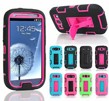 For Samsung Galaxy S III S3 i9300 Hybrid Rubber Gel Kick-Stand Hard Case Cover