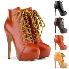 WOMENS' HIGH HEEL LACE UP PLATFORM STILETTO ANKLE BOOTS SHOES FAUX LEATHER