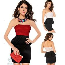 Floral Lace Strapless Sexy Peplum Stretch Bodycon Casual Clubwear Party Dress