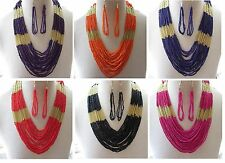 Boho Multi Strand Seed Bead Necklace & Earrings, Ethnic, Chic -- 6 Colours