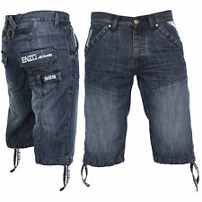 MENS ENZO DENIM FASHION SHORTS STYLE EZS 243 - MID STONEWASH BLUE