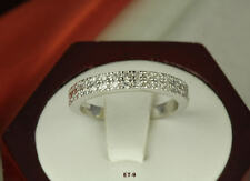2 ROW 0.48 CT STERLING SILVER STACKED SOLID CZ PAVE ROUND CZ ETERNITY BAND RING