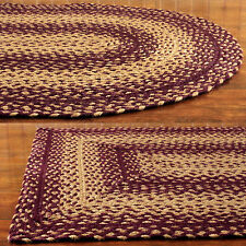 Vintage Star Braided Jute Rugs Oval Rectangle Primitive Wine Tan 20x30 to 8x10